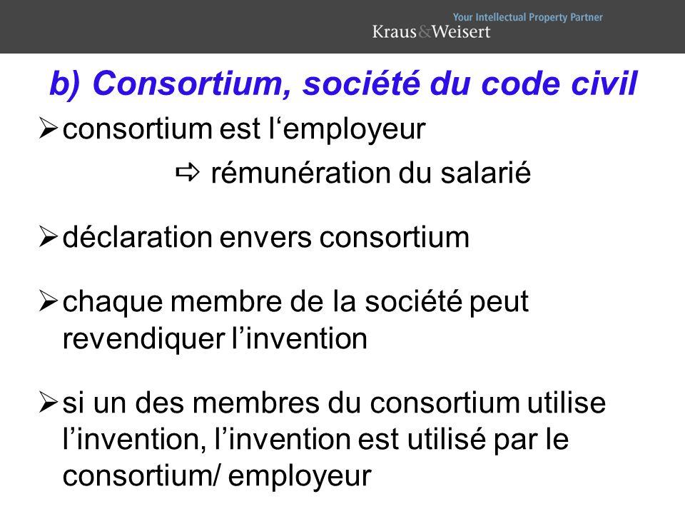 b) Consortium, société du code civil consortium est lemployeur rémunération du salarié déclaration envers consortium chaque membre de la société peut