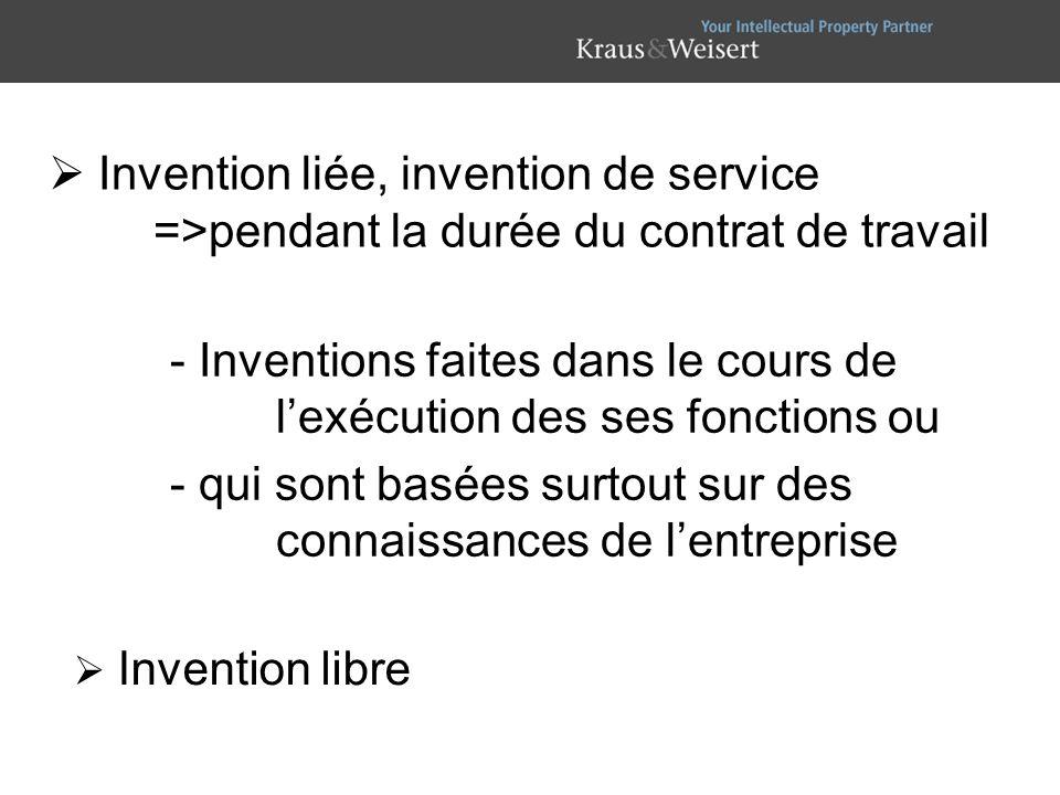 - Inventions faites dans le cours de lexécution des ses fonctions ou - qui sont basées surtout sur des connaissances de lentreprise Invention libre In