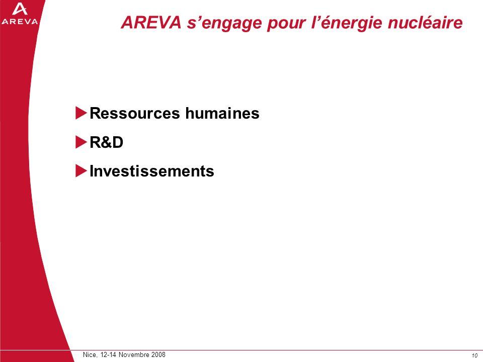 10 Nice, 12-14 Novembre 2008 AREVA sengage pour lénergie nucléaire Ressources humaines R&D Investissements