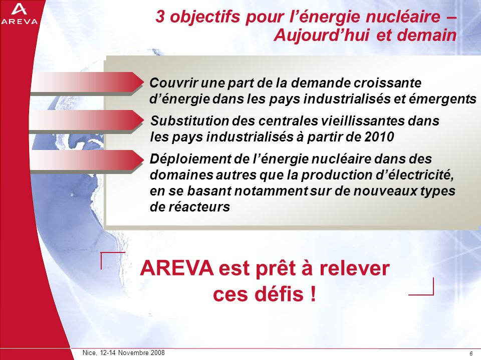 66 Nice, 12-14 Novembre 2008 3 objectifs pour lénergie nucléaire – Aujourdhui et demain Couvrir une part de la demande croissante dénergie dans les pa