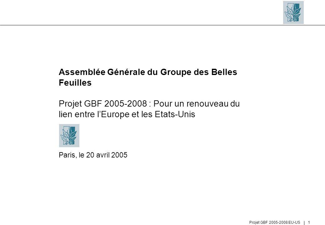 Projet GBF 2005-2008 EU-US 1 Assemblée Générale du Groupe des Belles Feuilles Projet GBF 2005-2008 : Pour un renouveau du lien entre lEurope et les Et