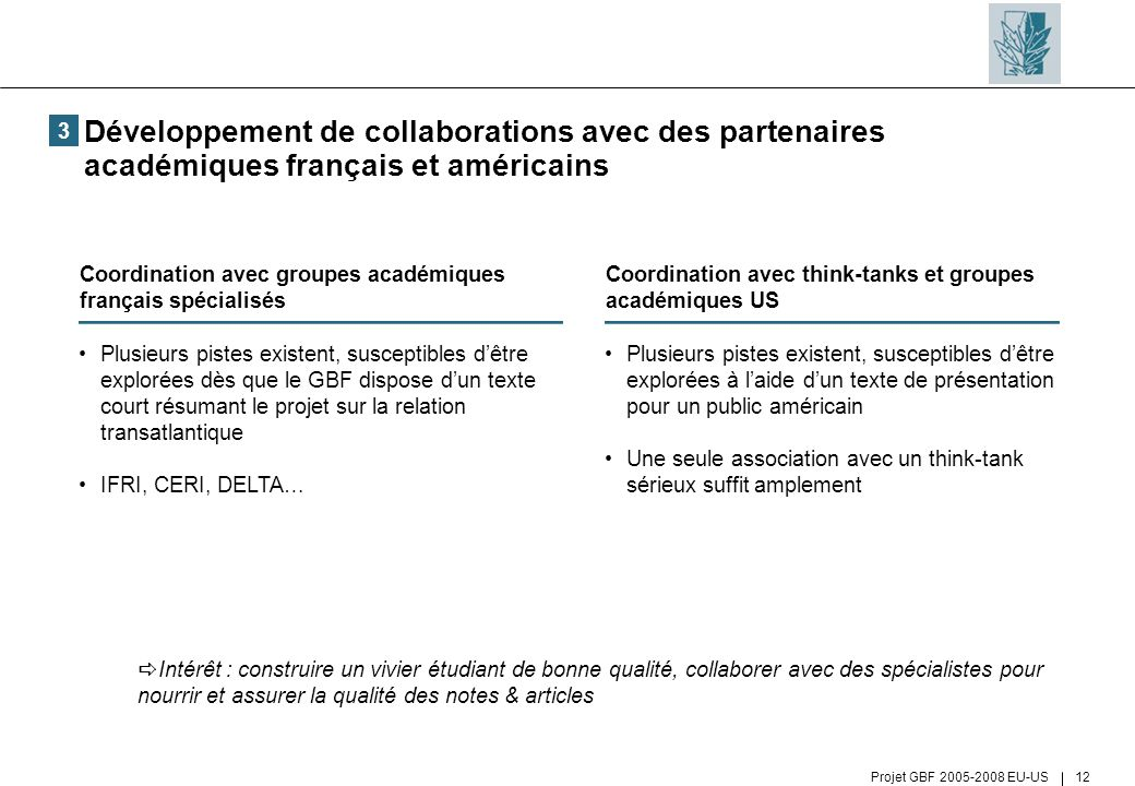 Projet GBF 2005-2008 EU-US 12 Développement de collaborations avec des partenaires académiques français et américains Plusieurs pistes existent, susce