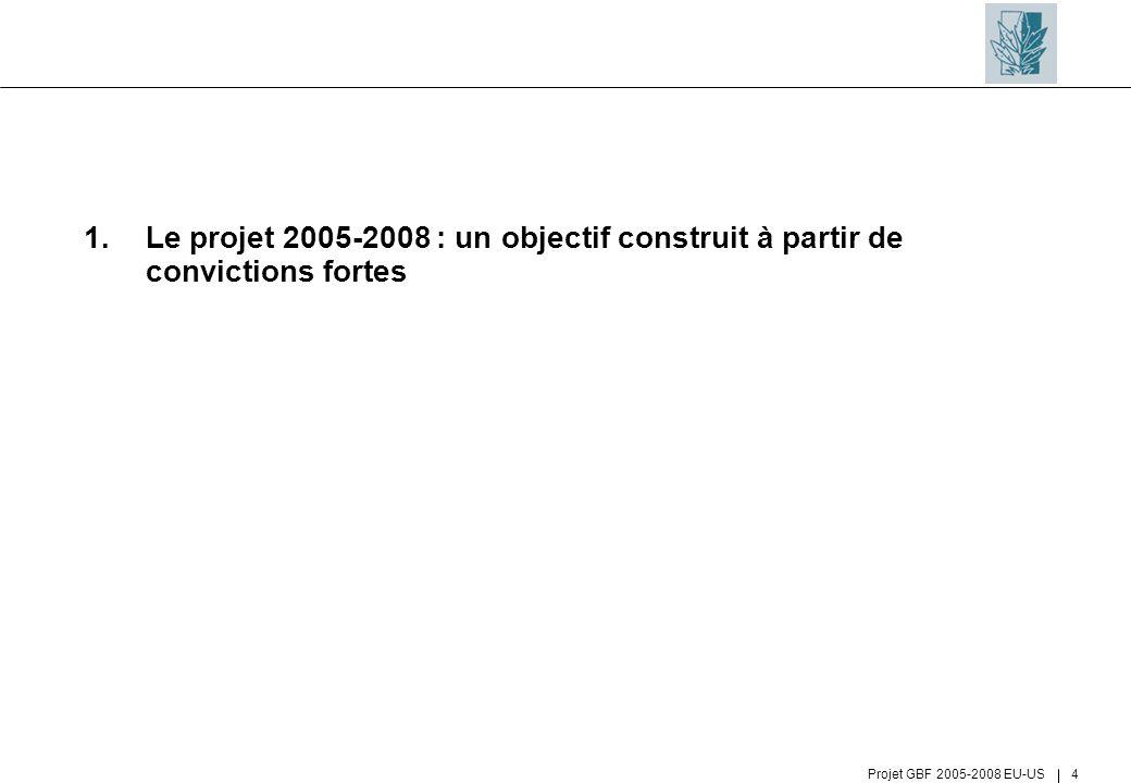 Projet GBF 2005-2008 EU-US 4 1.Le projet 2005-2008 : un objectif construit à partir de convictions fortes