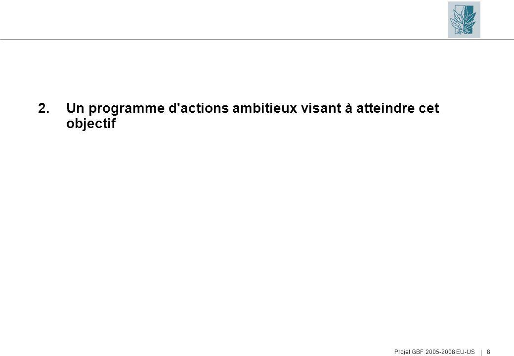 Projet GBF 2005-2008 EU-US 8 2.Un programme d'actions ambitieux visant à atteindre cet objectif