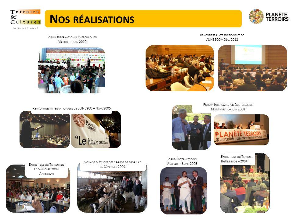 LE 4 ÈME FORUM INTERNATIONAL « PLANETE TERROIRS » - DAKAR, 2012/2013 : Co-organisation : - Terroirs & Cultures International - ROPPA : Réseau des Organisations Paysannes et des Producteurs de lAfrique de lOuest Lieu : Dakar, Sénégal Date : 7au 9 mars 2013 Public : environ 500 personnes : paysans, artisans, institutionnels, ONG, scientifiques, etc.
