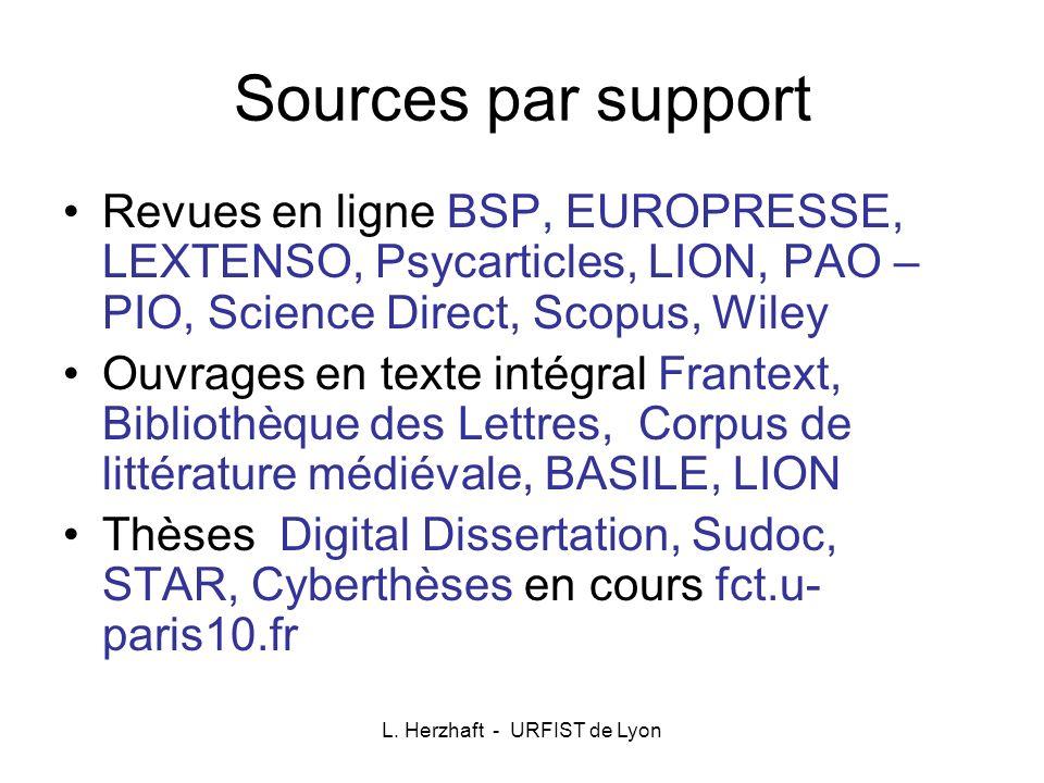 L. Herzhaft - URFIST de Lyon Sources par support Revues en ligne BSP, EUROPRESSE, LEXTENSO, Psycarticles, LION, PAO – PIO, Science Direct, Scopus, Wil