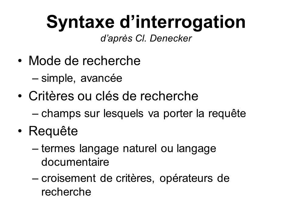 Syntaxe dinterrogation daprès Cl. Denecker Mode de recherche –simple, avancée Critères ou clés de recherche –champs sur lesquels va porter la requête