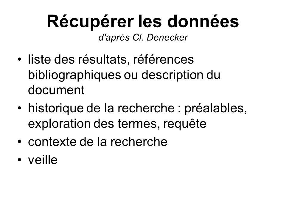 Récupérer les données daprès Cl. Denecker liste des résultats, références bibliographiques ou description du document historique de la recherche : pré