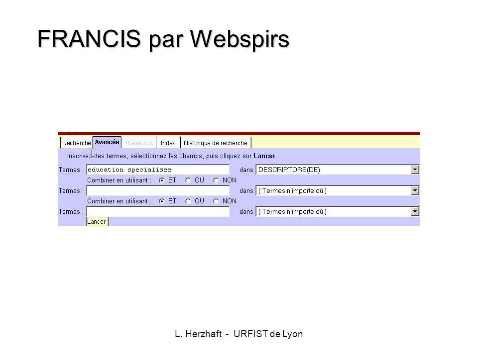 L. Herzhaft - URFIST de Lyon FRANCIS par Webspirs