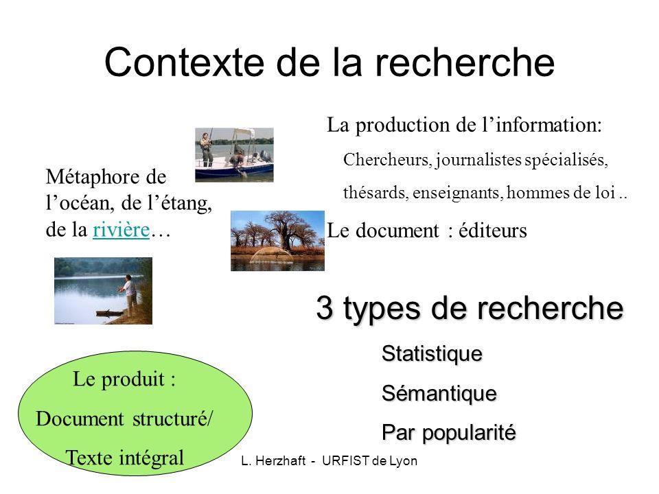 L. Herzhaft - URFIST de Lyon Contexte de la recherche Métaphore de locéan, de létang, de la rivière…rivière La production de linformation: Chercheurs,