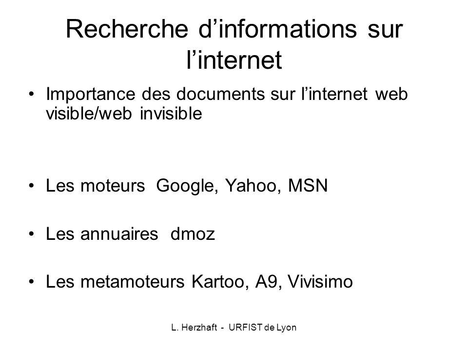 L. Herzhaft - URFIST de Lyon Recherche dinformations sur linternet Importance des documents sur linternet web visible/web invisible Les moteurs Google