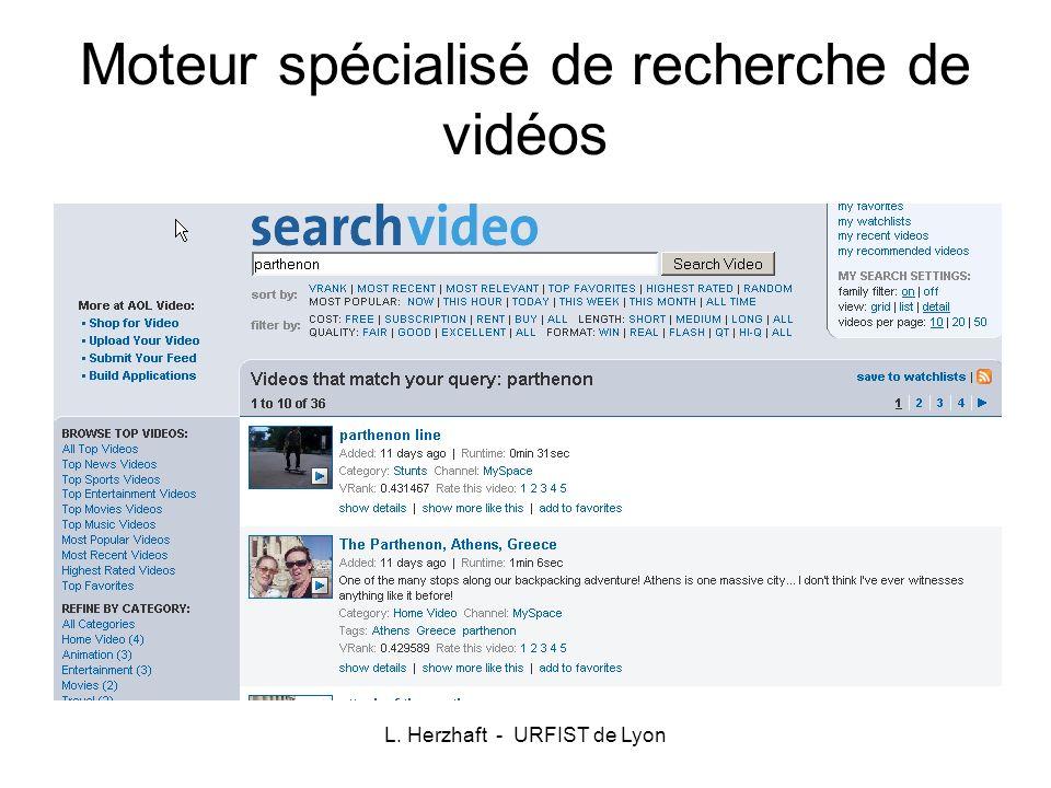 Moteur spécialisé de recherche de vidéos