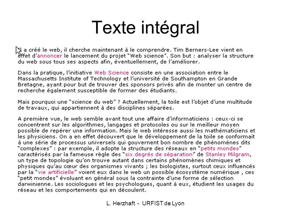 L. Herzhaft - URFIST de Lyon Texte intégral