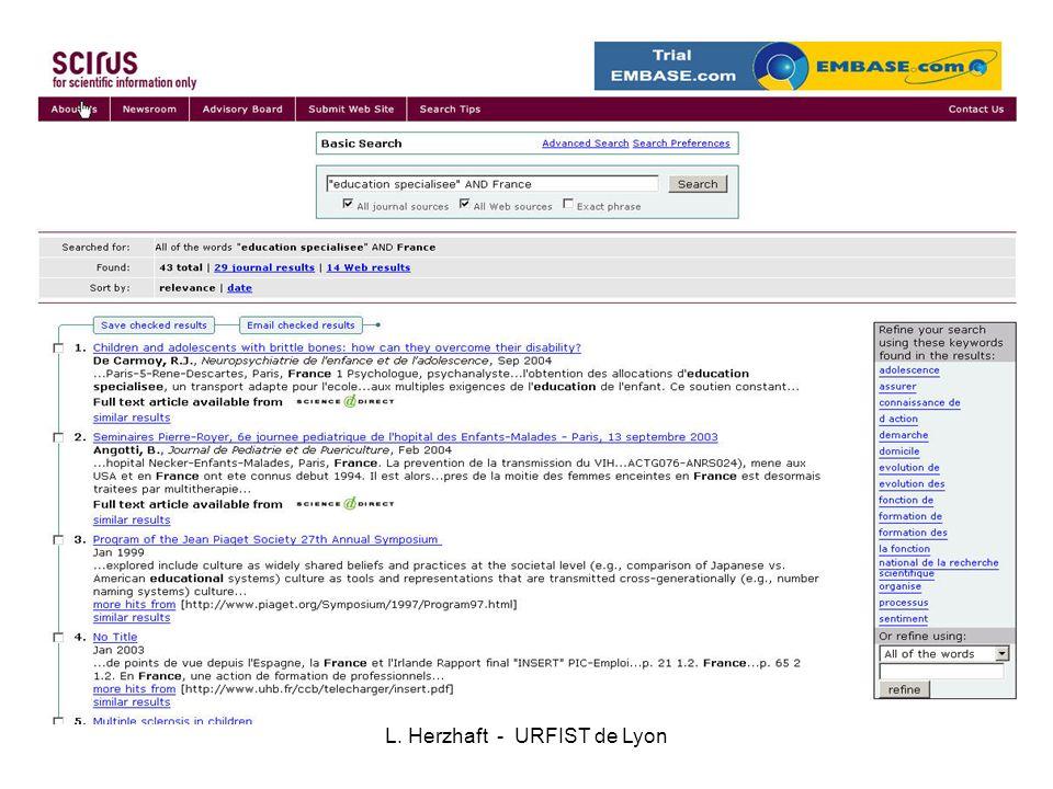 SCOPUS -Elsevier 15 000 titres revues académiques, conférences, 2850 titres en SHS 4 000 éditeurs 28 millions de résumés 245 millions de citations 250 millions de pages web Résumés depuis 1966- et citations depuis 1996- 40% USA Vocabulaire contrôlé pour 80% du contenu
