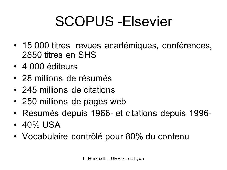 SCOPUS -Elsevier 15 000 titres revues académiques, conférences, 2850 titres en SHS 4 000 éditeurs 28 millions de résumés 245 millions de citations 250