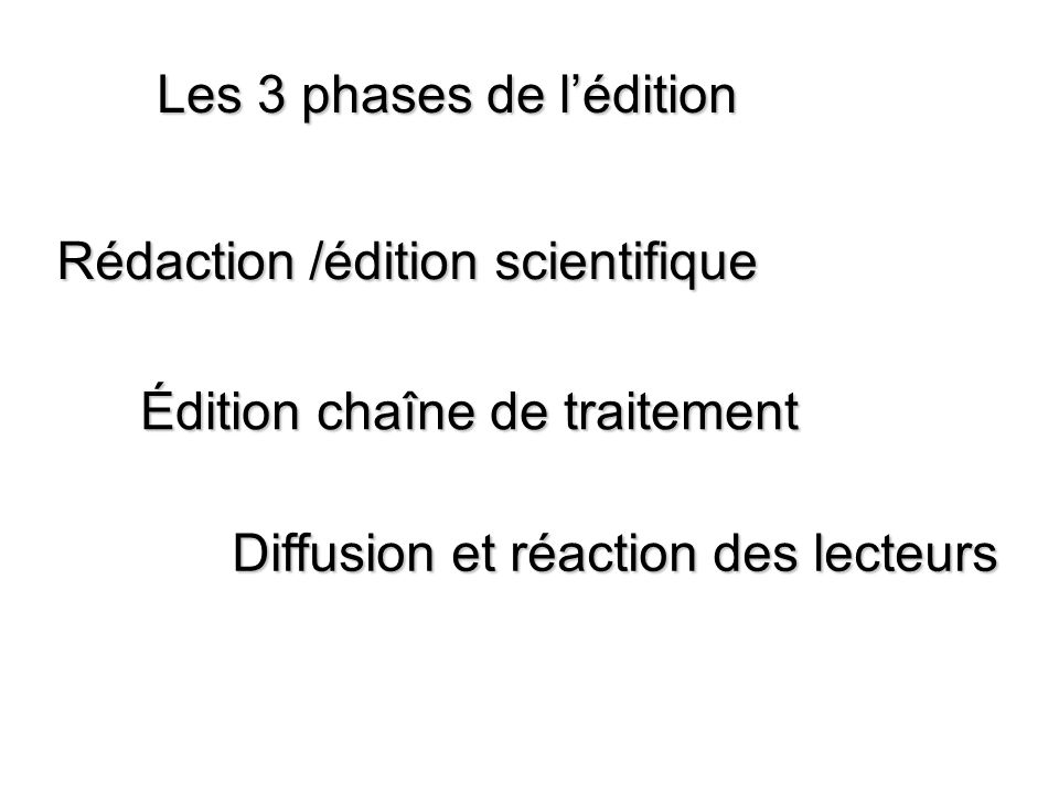 Les 3 phases de lédition Rédaction /édition scientifique Édition chaîne de traitement Diffusion et réaction des lecteurs