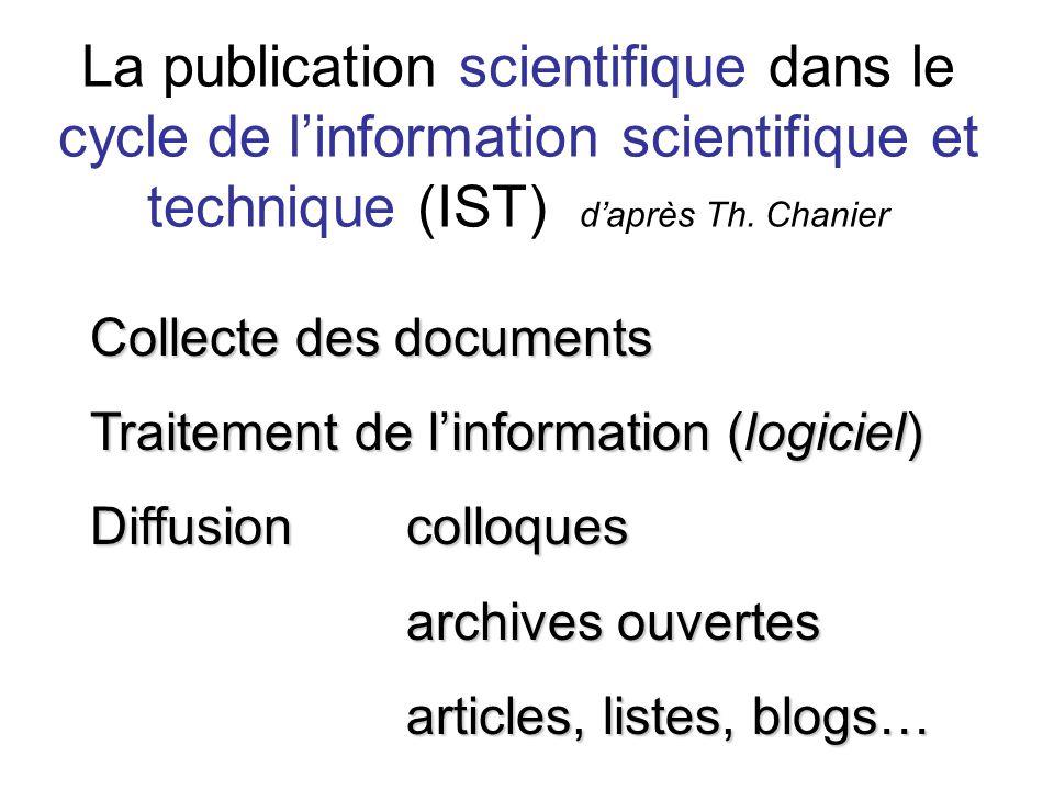 La publication scientifique dans le cycle de linformation scientifique et technique (IST) daprès Th. Chanier Collecte des documents Traitement de linf