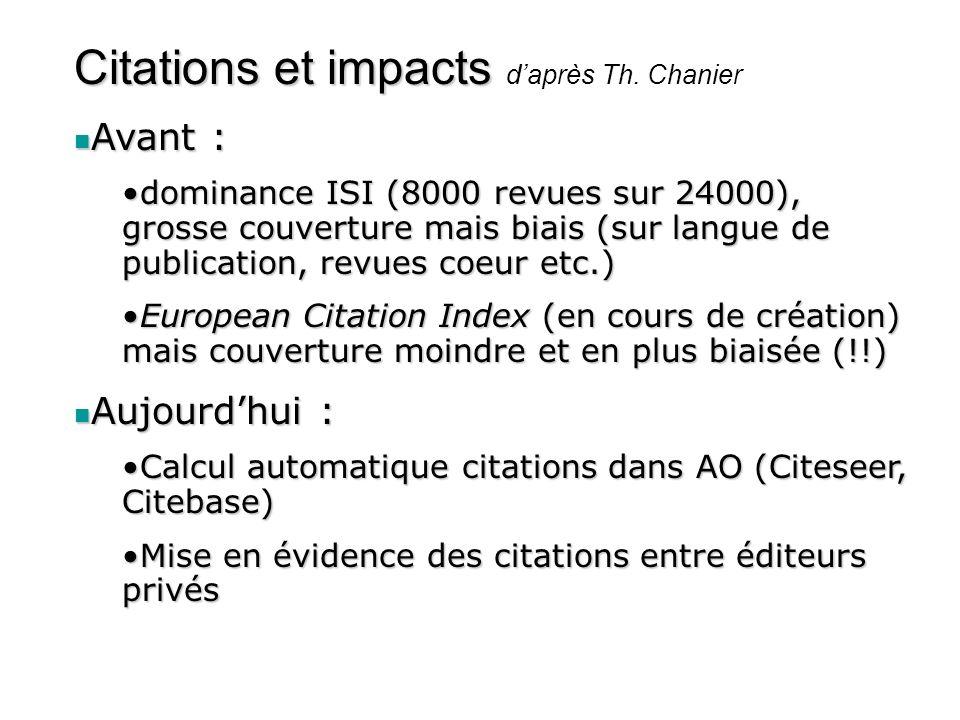 Citations et impacts Citations et impacts daprès Th. Chanier Avant : Avant : dominance ISI (8000 revues sur 24000), grosse couverture mais biais (sur