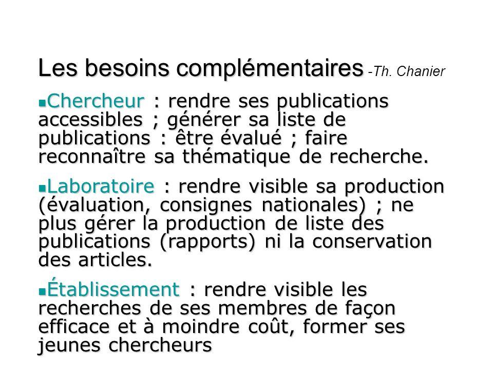Les besoins complémentaires Les besoins complémentaires -Th. Chanier Chercheur : rendre ses publications accessibles ; générer sa liste de publication