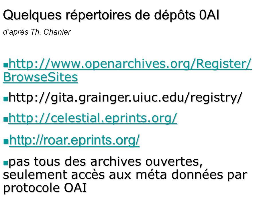 Quelques répertoires de dépôts 0AI daprès Th. Chanier http://www.openarchives.org/Register/ BrowseSites http://www.openarchives.org/Register/ BrowseSi