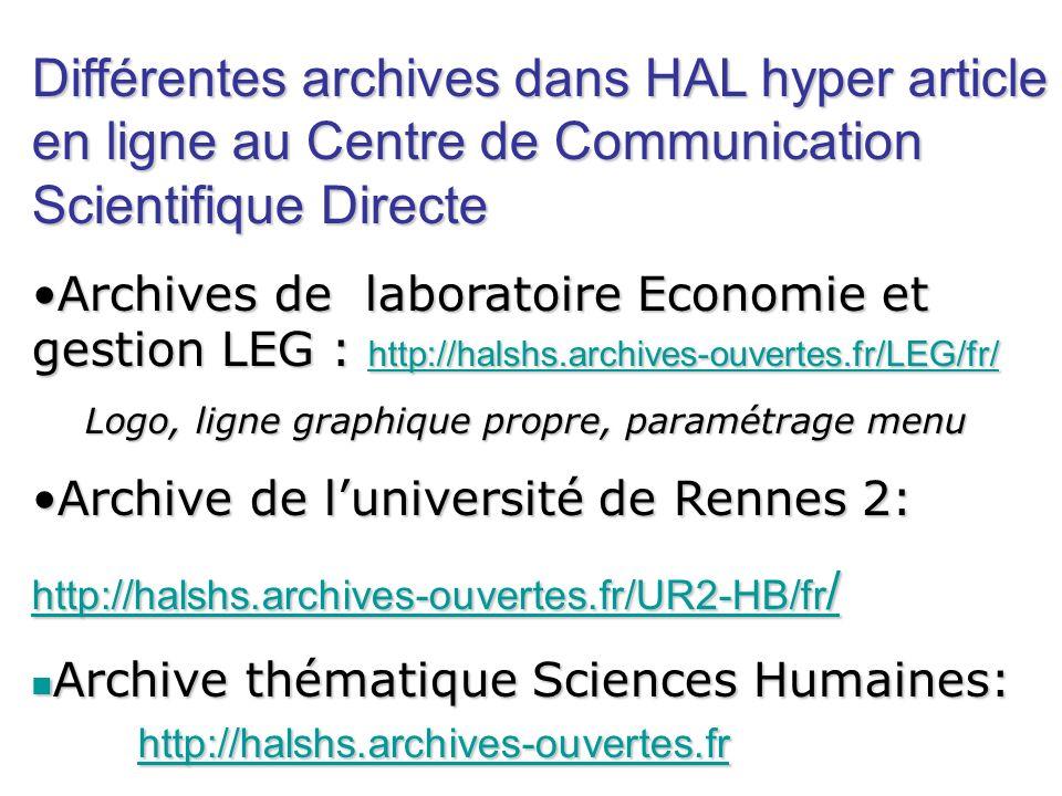 Différentes archives dans HAL hyper article en ligne au Centre de Communication Scientifique Directe Archives de laboratoire Economie et gestion LEG :