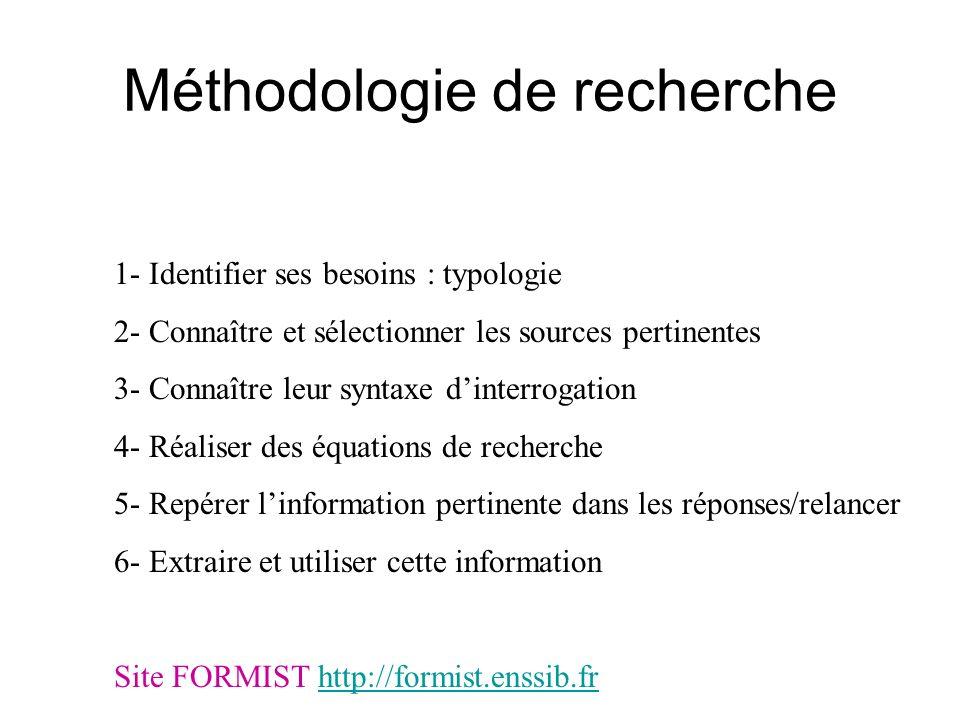 Méthodologie de recherche 1- Identifier ses besoins : typologie 2- Connaître et sélectionner les sources pertinentes 3- Connaître leur syntaxe dinterr