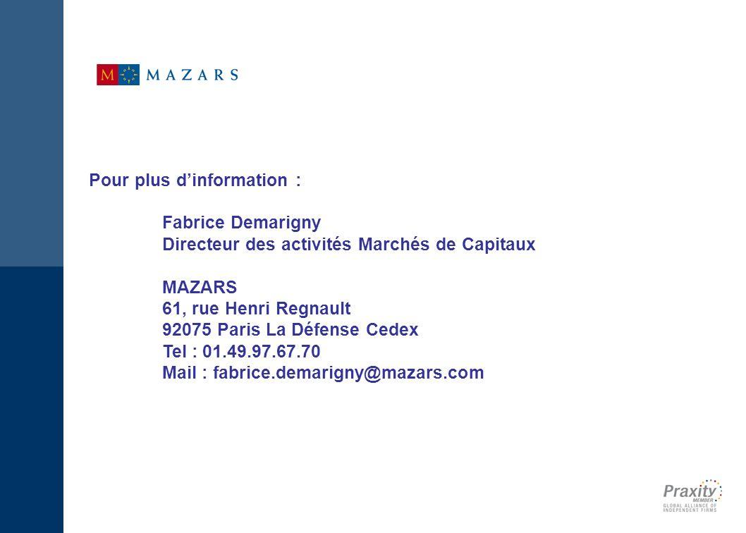 www.mazars.lu Fabrice Demarigny Directeur des activités Marchés de Capitaux Mazars 61 rue Henri Regnault 92075 Paris La Défense Cedex Tél.