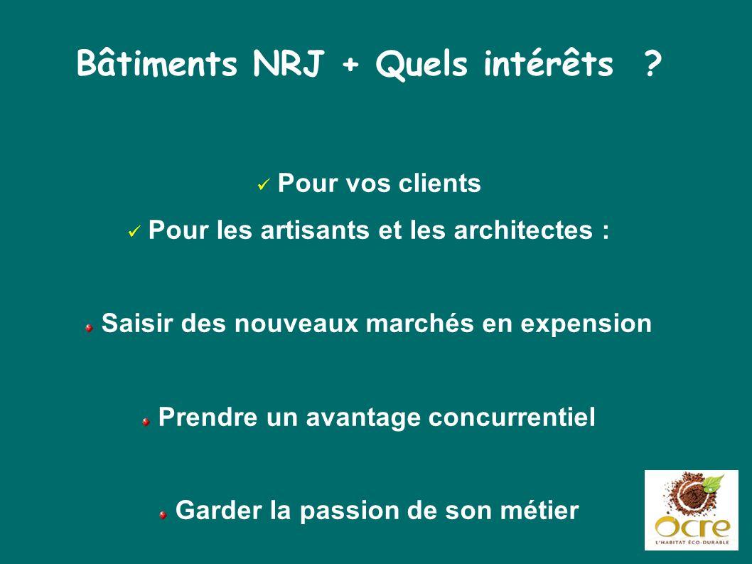 Bâtiments NRJ + Quels intérêts ? Pour vos clients Pour les artisants et les architectes : Saisir des nouveaux marchés en expension Prendre un avantage