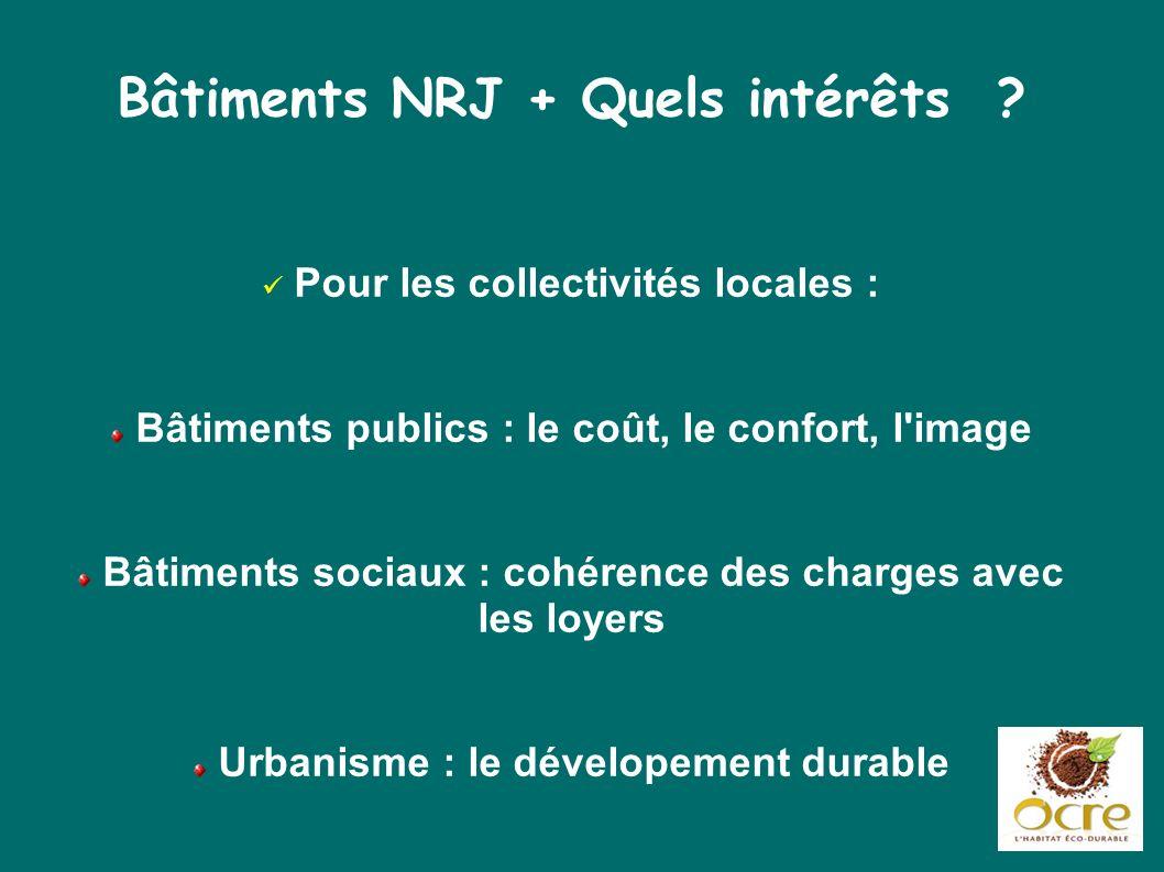 Bâtiments NRJ + Quels intérêts ? Pour les collectivités locales : Bâtiments publics : le coût, le confort, l'image Bâtiments sociaux : cohérence des c