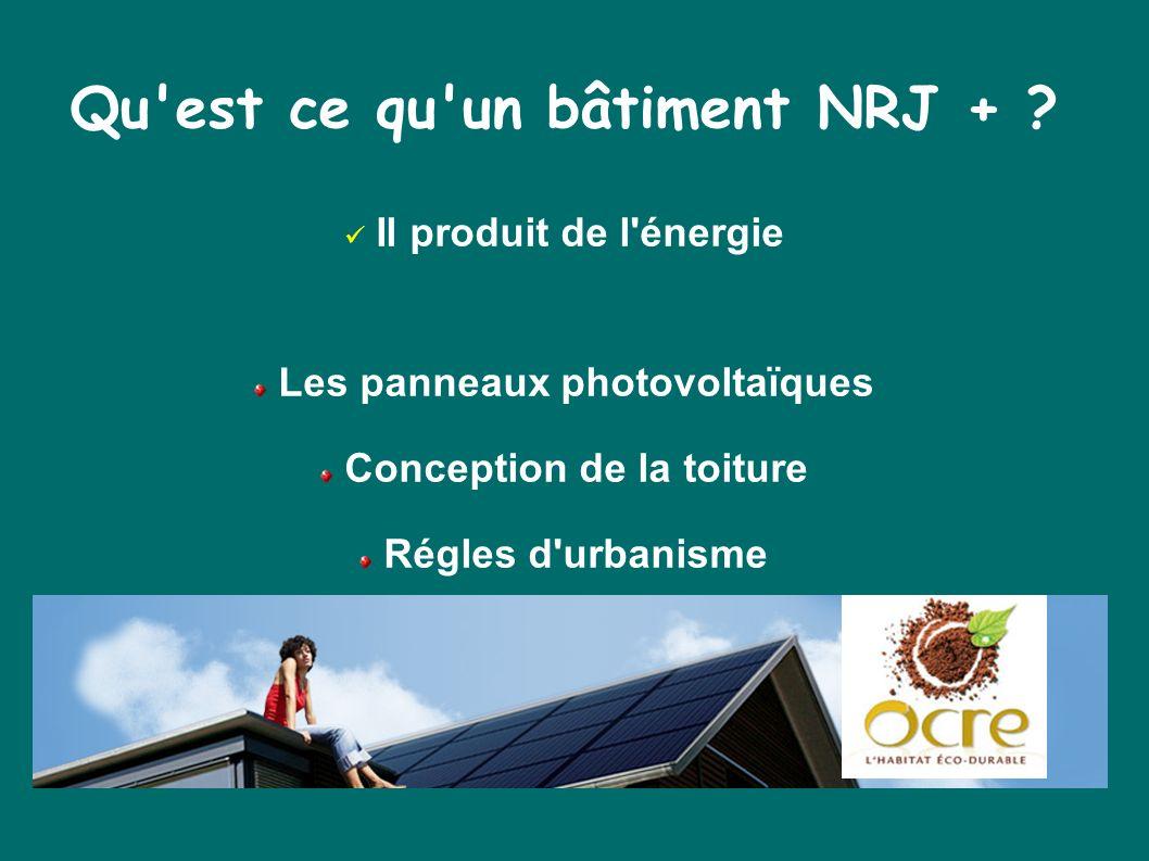 Qu'est ce qu'un bâtiment NRJ + ? Il produit de l'énergie Les panneaux photovoltaïques Conception de la toiture Régles d'urbanisme