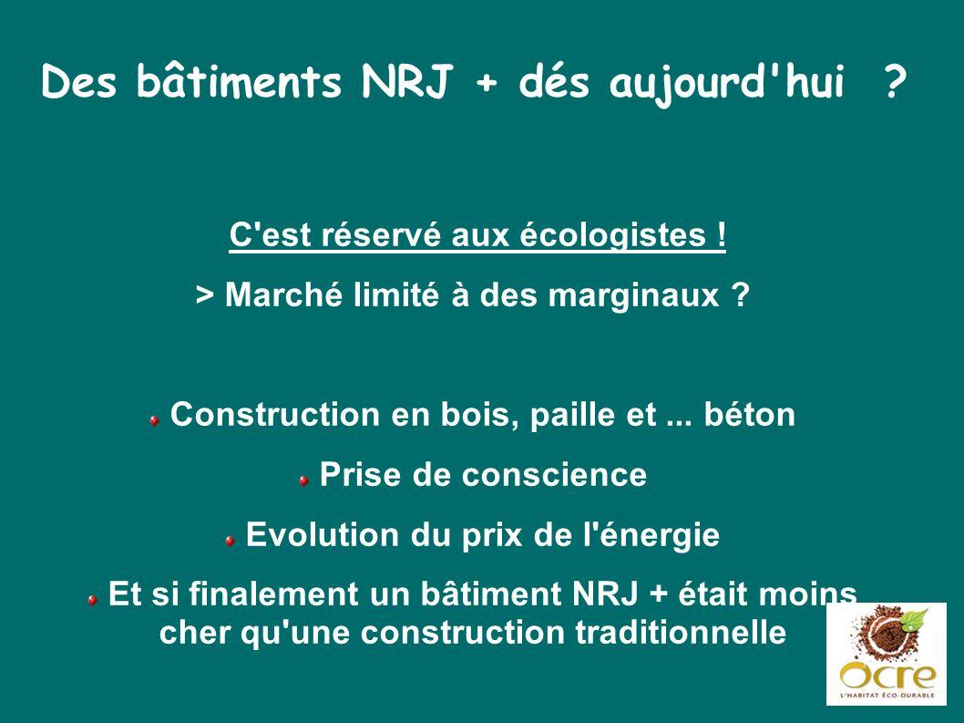Des bâtiments NRJ + dés aujourd'hui ? C'est réservé aux écologistes ! > Marché limité à des marginaux ? Construction en bois, paille et... béton Prise