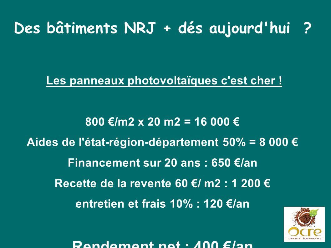 Des bâtiments NRJ + dés aujourd'hui ? Les panneaux photovoltaïques c'est cher ! 800 /m2 x 20 m2 = 16 000 Aides de l'état-région-département 50% = 8 00