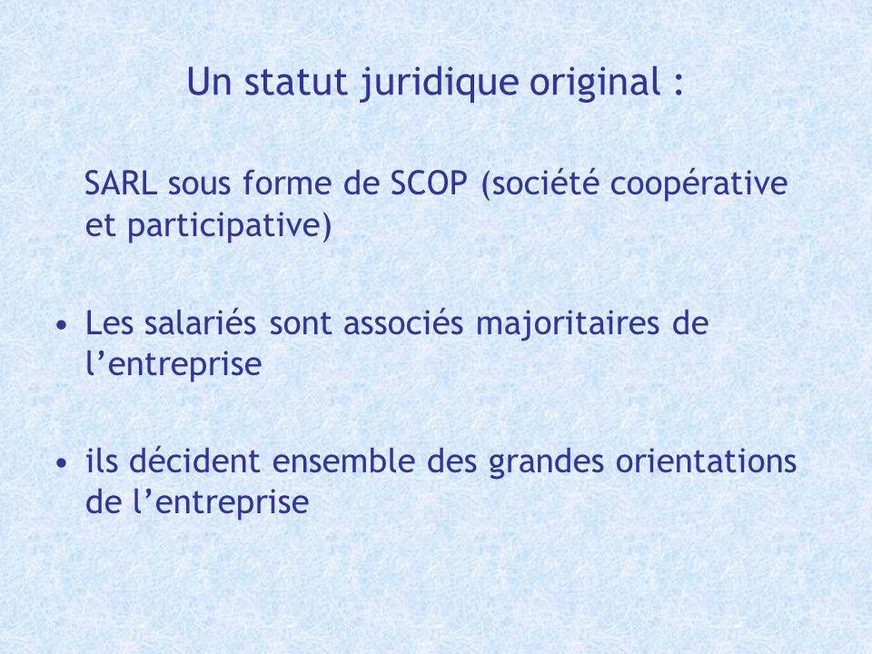 Un statut juridique original : SARL sous forme de SCOP (société coopérative et participative) Les salariés sont associés majoritaires de lentreprise i