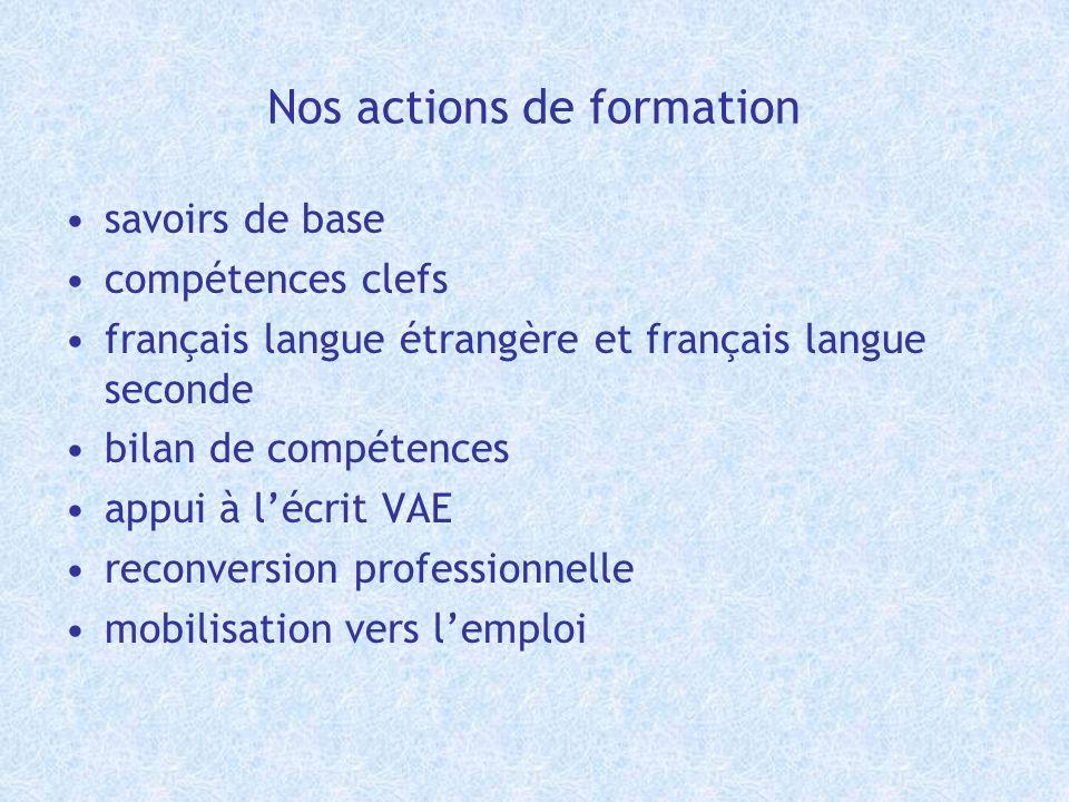 Nos actions de formation savoirs de base compétences clefs français langue étrangère et français langue seconde bilan de compétences appui à lécrit VA