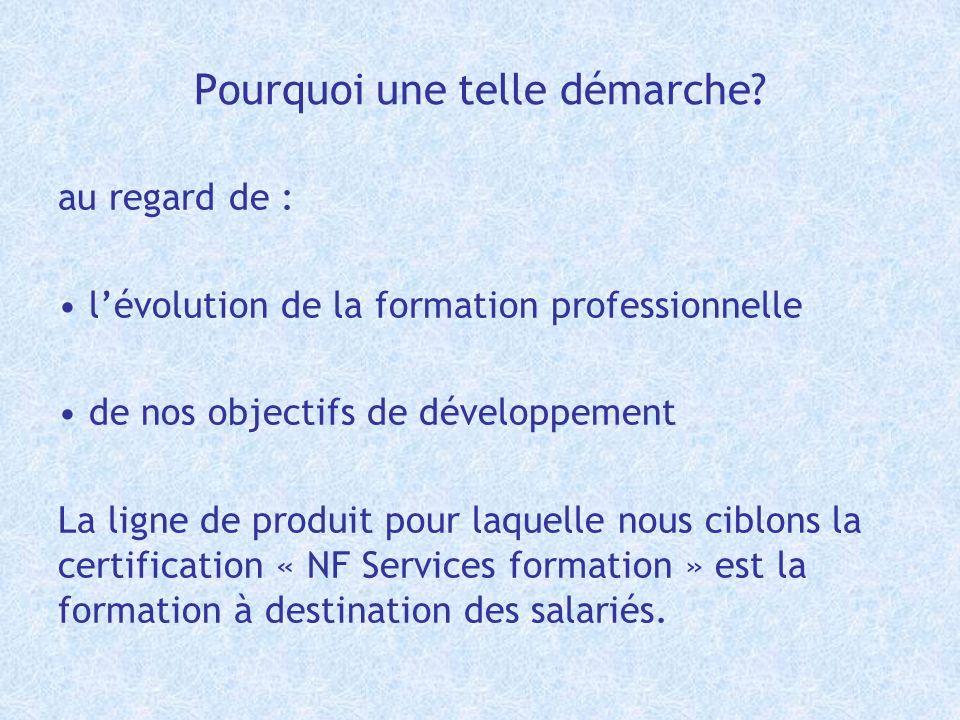 Pourquoi une telle démarche? au regard de : lévolution de la formation professionnelle de nos objectifs de développement La ligne de produit pour laqu