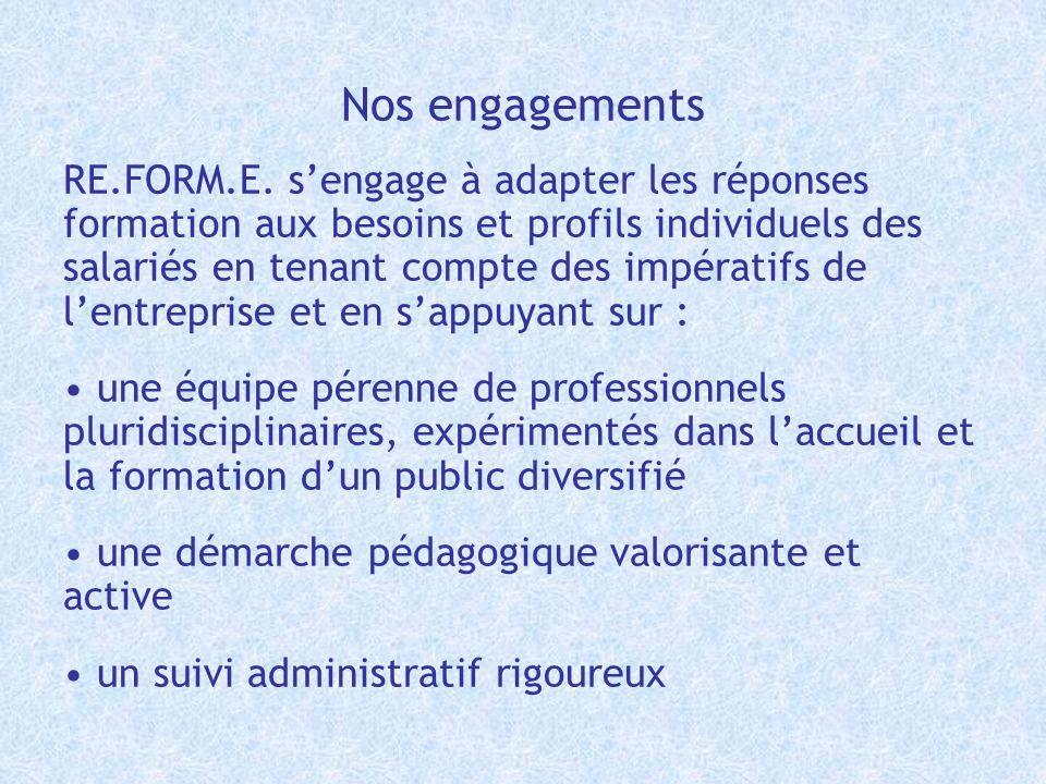 Nos engagements RE.FORM.E. sengage à adapter les réponses formation aux besoins et profils individuels des salariés en tenant compte des impératifs de