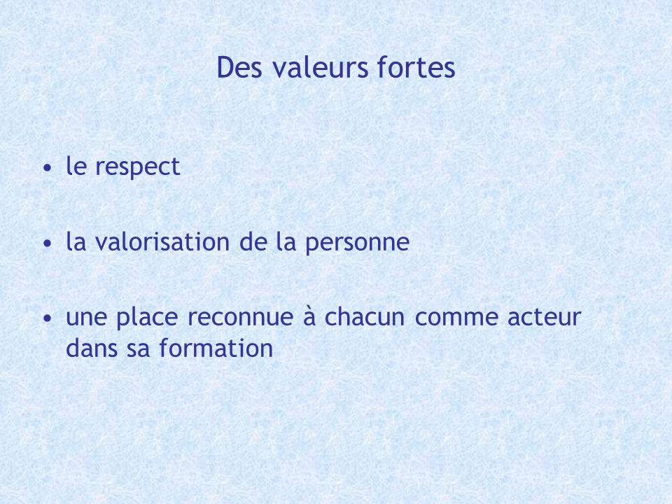 Des valeurs fortes le respect la valorisation de la personne une place reconnue à chacun comme acteur dans sa formation