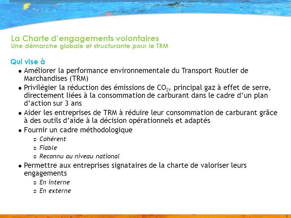 6 La Charte dengagements volontaires Une démarche globale et structurante pour le TRM Qui vise à Améliorer la performance environnementale du Transport Routier de Marchandises (TRM) Privilégier la réduction des émissions de CO 2, principal gaz à effet de serre, directement liées à la consommation de carburant dans le cadre dun plan daction sur 3 ans Aider les entreprises de TRM à réduire leur consommation de carburant grâce à des outils daide à la décision opérationnels et adaptés Fournir un cadre méthodologique Cohérent Fiable Reconnu au niveau national Permettre aux entreprises signataires de la charte de valoriser leurs engagements En interne En externe