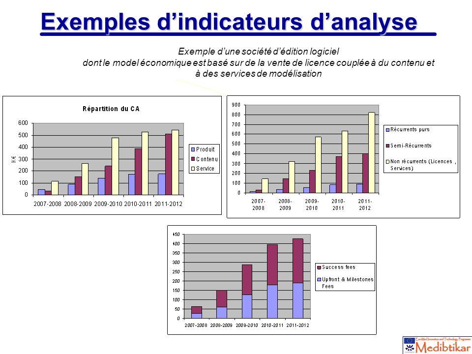 12 Exemples dindicateurs danalyse Exemple dune société dédition logiciel dont le model économique est basé sur de la vente de licence couplée à du con