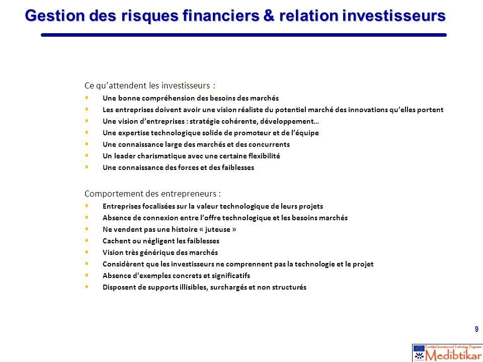 9 Gestion des risques financiers & relation investisseurs Ce quattendent les investisseurs : Une bonne compréhension des besoins des marchés Les entre
