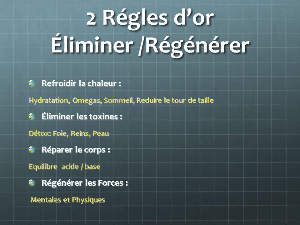 2 Régles dor Éliminer /Régénérer Refroidir la chaleur : Hydratation, Omegas, Sommeil, Reduire le tour de taille Éliminer les toxines : Détox: Foie, Re