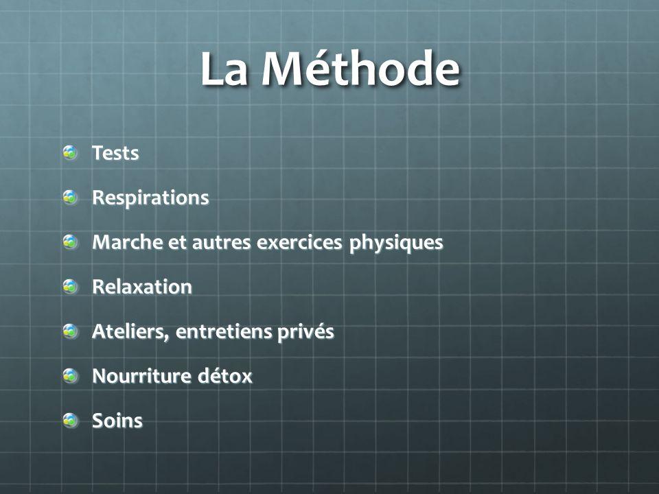 La Méthode TestsRespirations Marche et autres exercices physiques Relaxation Ateliers, entretiens privés Nourriture détox Soins