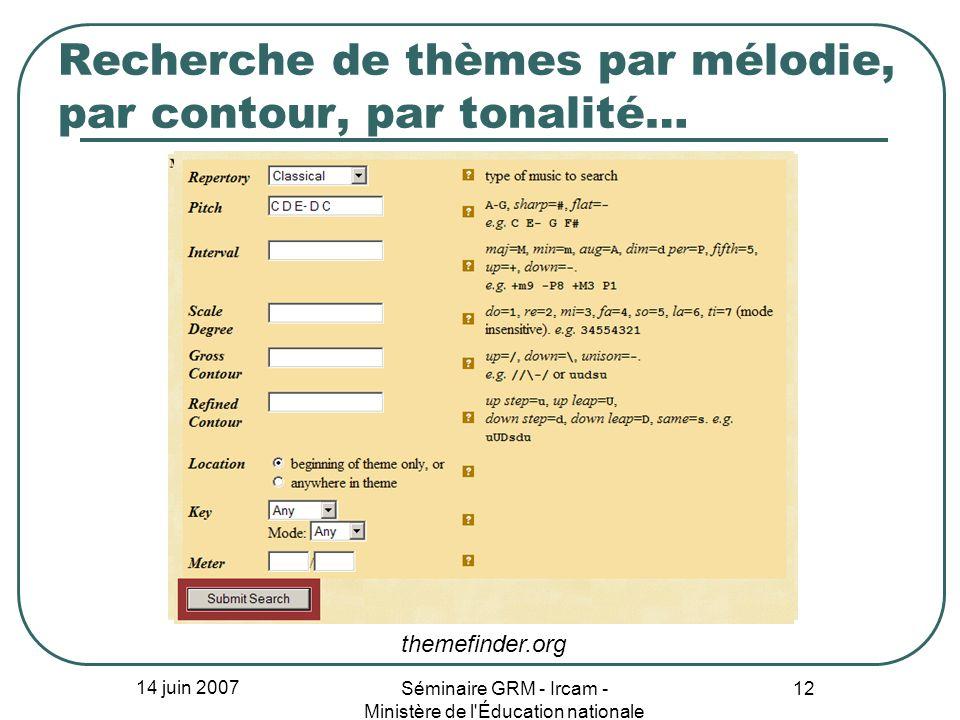 14 juin 2007 Séminaire GRM - Ircam - Ministère de l'Éducation nationale 12 Recherche de thèmes par mélodie, par contour, par tonalité… themefinder.org