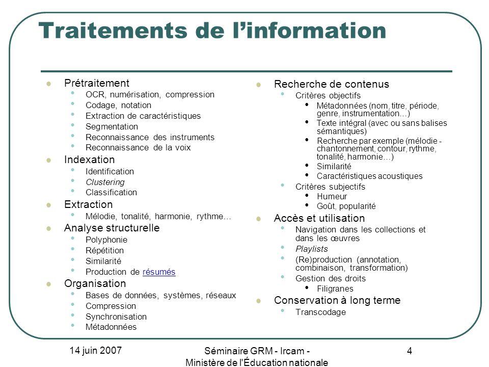 14 juin 2007 Séminaire GRM - Ircam - Ministère de l'Éducation nationale 4 Traitements de linformation Prétraitement OCR, numérisation, compression Cod