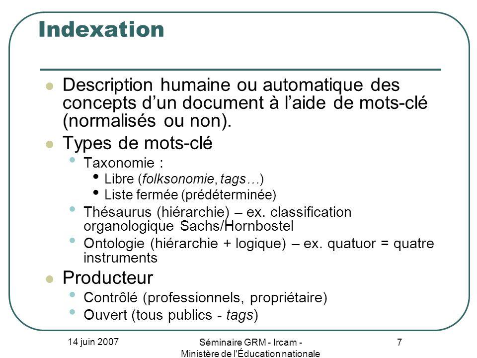 14 juin 2007 Séminaire GRM - Ircam - Ministère de l'Éducation nationale 7 Indexation Description humaine ou automatique des concepts dun document à la