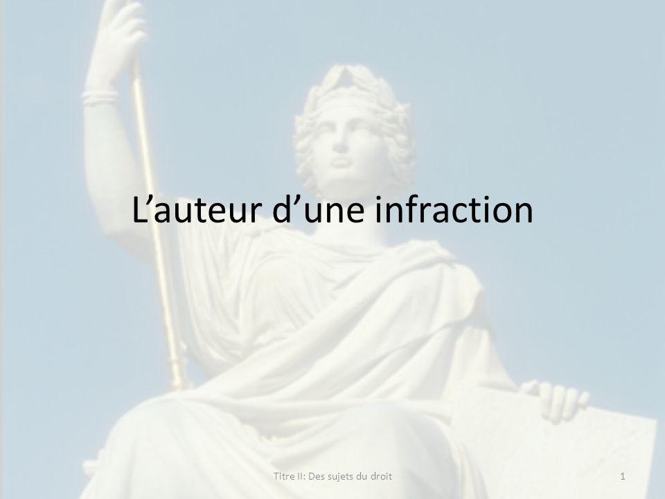 Lauteur dune infraction 1Titre II: Des sujets du droit