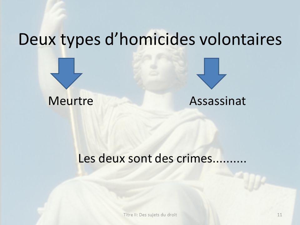 Deux types dhomicides volontaires Meurtre Assassinat Les deux sont des crimes.......... Titre II: Des sujets du droit11