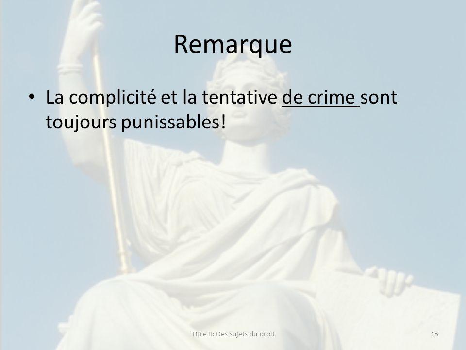 Remarque La complicité et la tentative de crime sont toujours punissables! Titre II: Des sujets du droit13