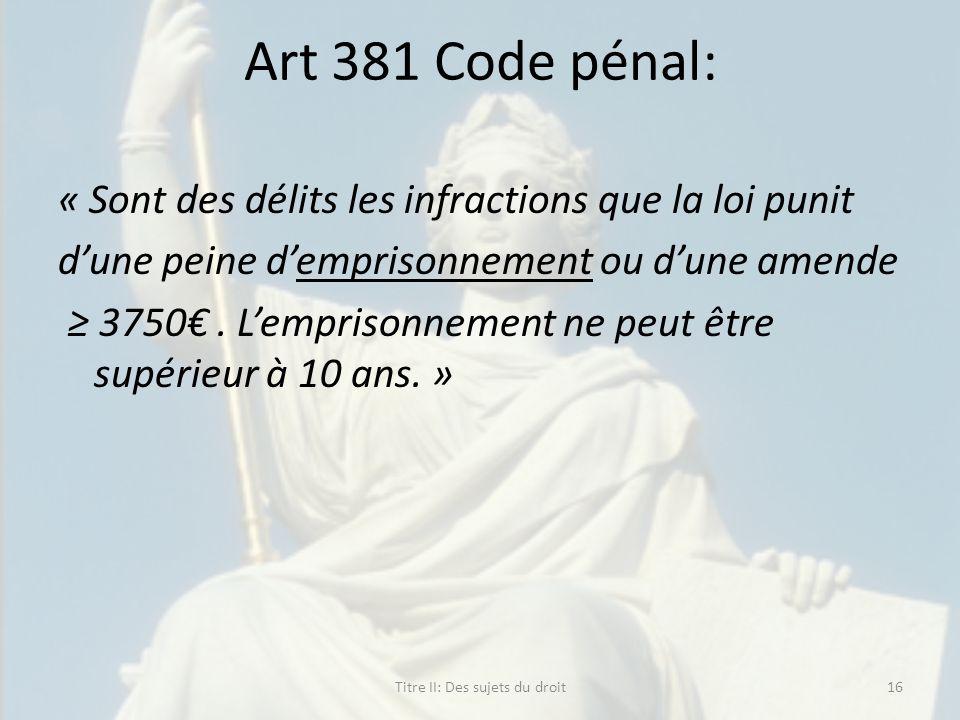 Art 381 Code pénal: « Sont des délits les infractions que la loi punit dune peine demprisonnement ou dune amende 3750. Lemprisonnement ne peut être su