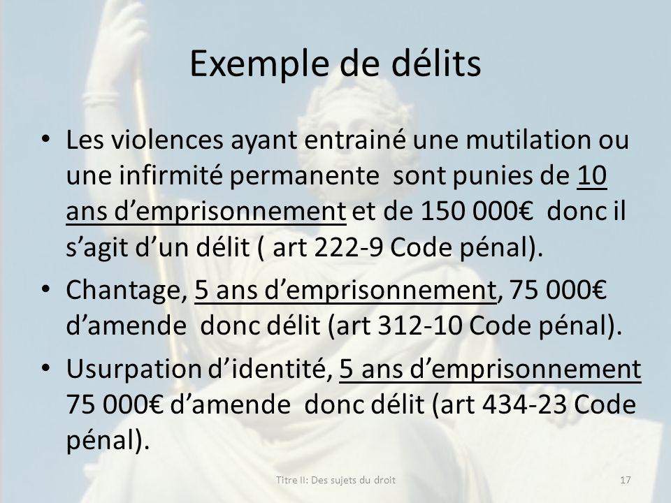 Exemple de délits Les violences ayant entrainé une mutilation ou une infirmité permanente sont punies de 10 ans demprisonnement et de 150 000 donc il